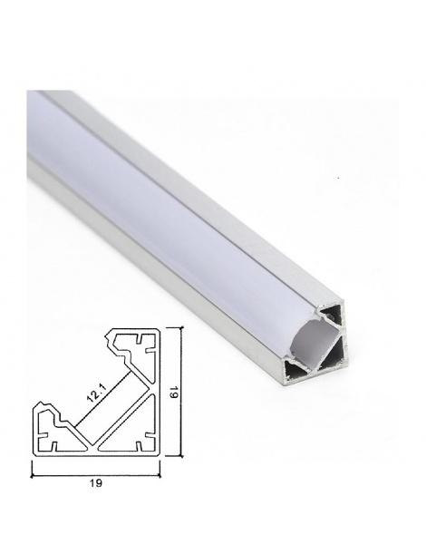 Profilo Alluminio angolare per Strisce Strip LED Barra Rigida Copertura Opaco