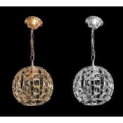 Lampadario sospensione E27 cristalli sfera oro argento moderno illuminazione led