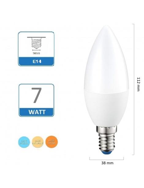 Lampadina Led Oliva 7W E14 opaca lampada per lampadario luce Fredda Naturale Calda