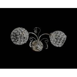 Applique parete doppio E27 paralume cristalli argento lampada parete camera led