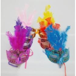 Maschere Veneziane Glitterate con piume in vari colori
