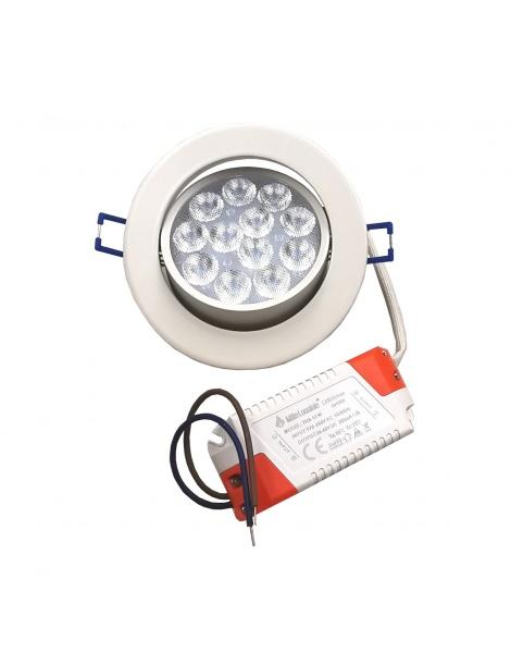 Faro faretto led da incasso bianco 12w ip20 orientabile rotondo luce fredda 6500k