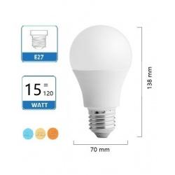 Lampadina Led A70 15w attacco E27 bulbo globo luce naturale calda fredda