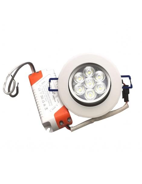 Faro faretto led incasso bianco 7w ip20 orientabile rotondo luce fredda naturale