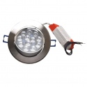 Faro faretto led incasso alluminio 12w ip20 orientabile rotondo 3000k/4000k/6500k