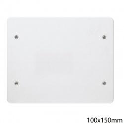 Coperchio bianco quadrato 100x150mm per scatola derivazione 4 viti da incasso