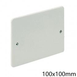 Coperchio bianco quadrato 100x100mm per scatola derivazione 2 viti da incasso