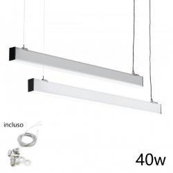 Plafoniera sospensione 40w 120cm con cavi sospensione alluminio silver illuminazione