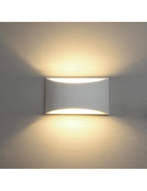 Applique parete gesso verniciabile doppia emissione attacco g9 lampada moderno