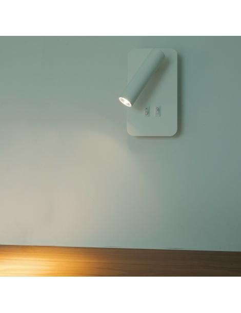 Applique LED 6W 2 in 1 lampada parete luce lettura orientabile comodino letto