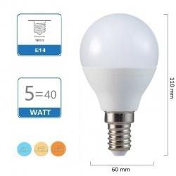 Lampadina led E14 5W G45 sfera globo luce bianca 6500k naturale 4000k calda 3000k