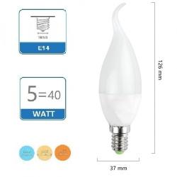 Lampadina led candela E14 5W fiamma opaco soffio di vento luce 6500k 4000k 3000k