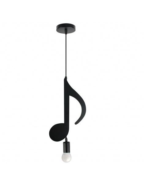 Lampadario nota musicale chiave violino pendente a sospensione nero attacco e27