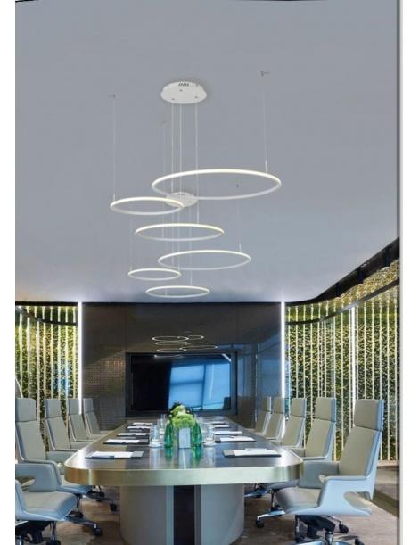 Lampadario Sospensione 52w led a 3 cerchi moderno arredamento design plafoniera