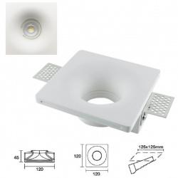 Portafaretto quadrato conico in gesso a scomparsa da incasso lampade led gu10