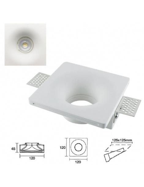 Portafaretto quadrato in gesso a scomparsa da incasso controsoffitti lampade led
