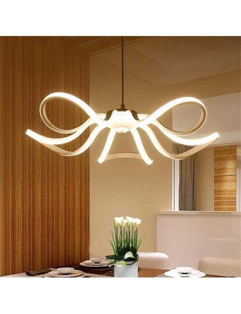 Lampadario sospensione led fiore bianco 45w moderno pendente soggiorno camera