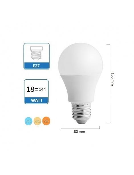 Lampadina Led globo E27 18w A80 bulbo luce bianca naturale calda illuminazione