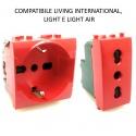 Presa bivalente shuko rosso per UPS frutti compatibili Btcino Living light