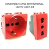 Presa bivalente shuko rossa per UPS frutti compatibili Btcino Living light