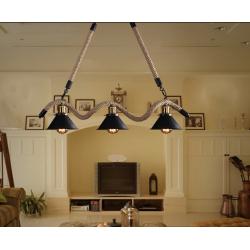 Lampadario sospensione 3xE27 corda canapa pendente campane stile rustico vintage