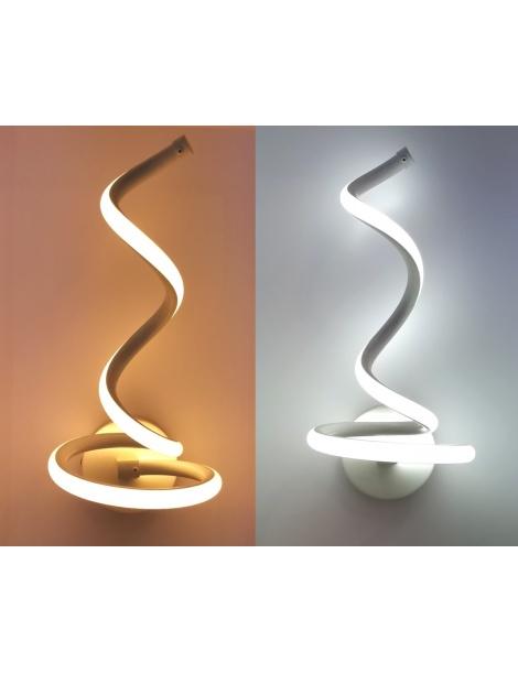 Applique a parete spirale LED 12W lampada muro moderno bianco per camera bagno interno