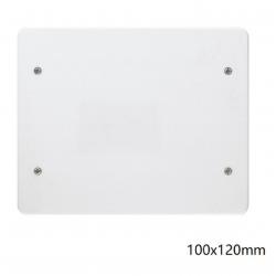 Coperchio bianco quadrato 100x120mm per scatola derivazione 4 viti da incasso