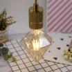 Lampadina filamento E27 4W diamante ambra lampada decorativa vintage luce calda