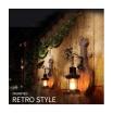 Applique parete E27 lanterna vintage legno lampada da muro luce led da interno