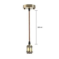 Porta lampada E27 bronzo antico a sospensione pendente con cavo vintage retrò
