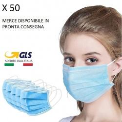 50 mascherine chirurgiche maschere igieniche protezione 3 veli TNT e melt blown idrorepellente
