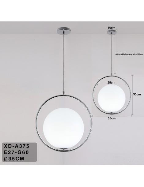Lampadario sospensione cerchio sfera E27 oro argento pendente moderno led minimal