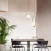 Lampadario a sospensione ovale sfera E27 oro argento pendente moderno led minimal
