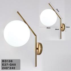 Applique parete ramo con sfera E27 oro argento lampada muro moderno minimal led
