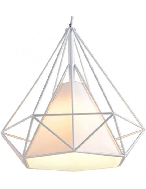 Lampadario sospensione diamante metallo E27 pendente moderno retrò nero bianco