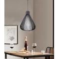Lampadario sospensione goccia gabbia metallo E27 pendente moderno nero bianco