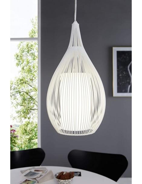 Lampadario sospensione goccia gabbia metallo E27 pendente a filamenti retrò nero bianco