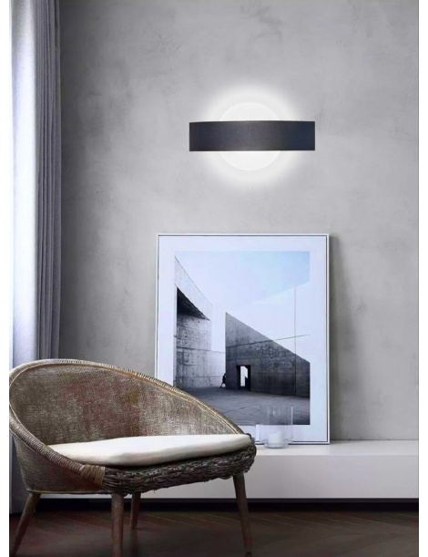 Applique parete led 8w cerchio nero lampada muro moderno interno camera salotto