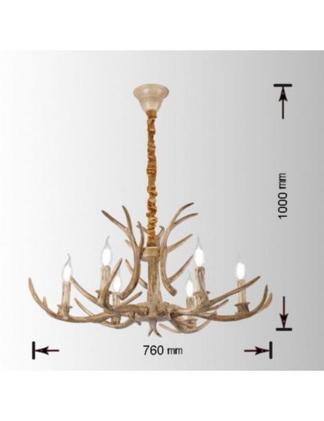 Lampadario sospensione corna cervo in resina 6 luci E14 pendente rustico country