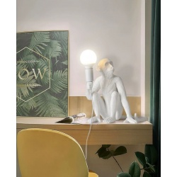 Lampada scrivania scimmia attacco E27 bianco lume da tavolo abajour moderno