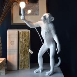 Lampada scrivania scimmia in piedi attacco E27 lume da terra abajour bianco moderno