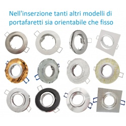 PORTA FARETTO INCASSO ORIENTABILE e FISSO LAMPADINE LED GU10 MR16 controsoffitto