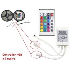 Controller centralina 2 uscite con telecomando per strip striscia led RGB 12V