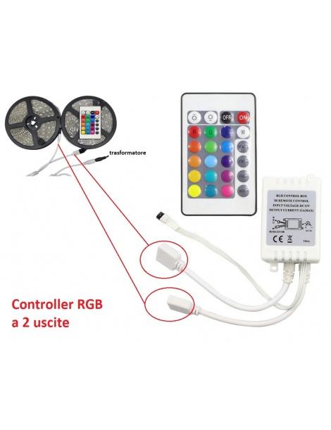 Controller centralina 2 uscite con telecomando per strip striscia led RGB 12/24V