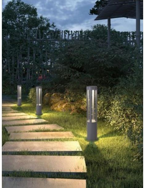 Lampione da giardino led 12w lampada per esterno lampioncino moderno grigio IP65