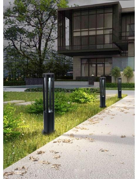 Lampione da giardino led 12w lampada per esterno lampioncino moderno nero IP65