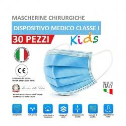 30 Mascherine chirurgiche per bambini Made in Italy 3 veli in TNT idrorepellente filtrante protezione facciale e respiratoria