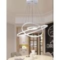 Lampadario sospeso led 48w cerchi pendente con anelli bianco stile moderno per camera salotto