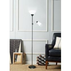 Lampada da terra luce led E27 piantana design moderna bianco nero argento per camera salotto