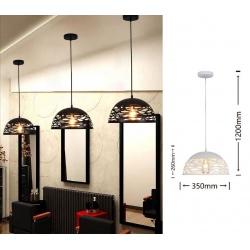 Lampadario sospeso a campana cupola luce led E27 in metallo nero bianco moderno